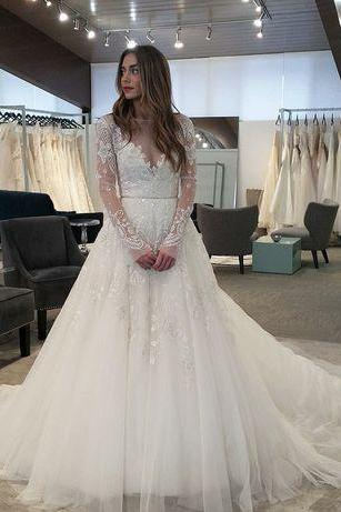 Long Sleeve Wedding Dresses,Wedding Dress,Custom Made Wedding Gown