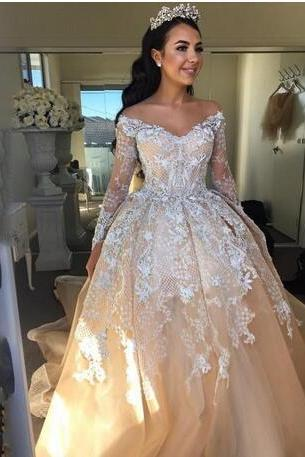 Champagne Wedding Dress,Ball Gown Arabic Wedding Dresses, Sexy Off Shoulder Bridal Dresses,Long Sleeves Wedding Gowns, Luxury Crystal Beaded Applique Lace Bridal Dress