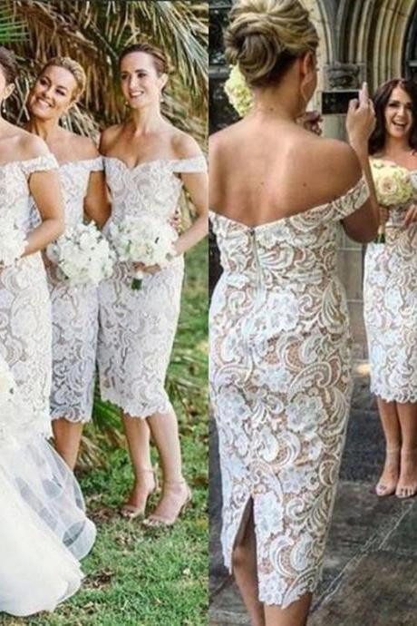 Charming Bridesmaid Dress,Tea Length Short Sheath Bridesmaid Dresses, Off Shoulder Bridesmaid Dress,Full Lace Wedding Guest Dress, Sexy Backless Bridesmaid Dress Custom Made