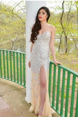 Champagne Crystal Prom Dress,Sweetheart Mermaid Prom Dresses,Sexy Side Split Floor Length Prom Dresses, Mermaid Evening Dress, High Quality Formal Party Gowns