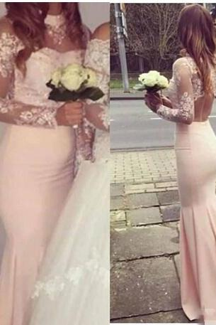 Elegant Pink Mermaid Prom Dresses, With High Neck Sheer Prom Dress,Long Sleeves Backless Prom Dresses,Evening Dress Simple Applique Lace Bridesmaid Dress