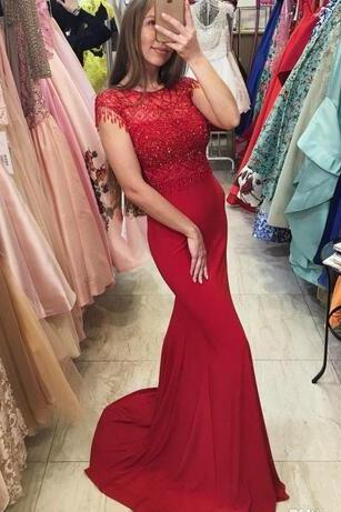 Sexy Elegant Hot Beaded Prom Dresses,Red Mermaid Prom Dress, Long Evening Dresses, Gowns With Short Cap Sleeves Prom Dress
