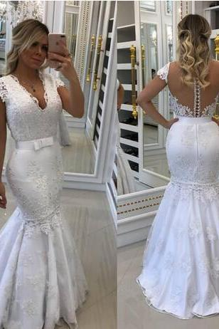 Stylish Mermaid Wedding Dress,Lace Wedding Dresses, With Detachable Train Wedding Dress,V Neck Backless Bridal Gowns, Beaded Plus Size Pearls Vestidos De Nnovia
