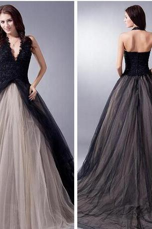 New Real Pictures Wedding Dress, Black And Champagne Wedding Dresses,Chapel Gothic Wedding Dresses, Halter Bridal Gowns, Custom Online Vestidos De Novia Beading Lace