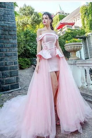 Pink Evening Dresses, Off Shoulder Prom Dress,Short Sleeves Red Prom Dresses,Carpet Evening Gowns, Back Lace-Up Sweep Train Prom Dress,Custom Made Formal Prom Dresses