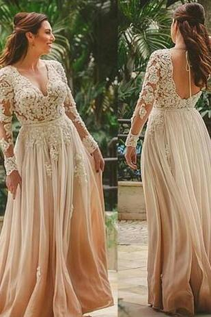 Beauty Boho Beach Long Wedding Dress,A-Line Floor Length Wedding Dresses,Bridal Gown, Beach Indian Style Backless Wedding Dresses,Lace Vestido de novia Sexy Deep V Neck