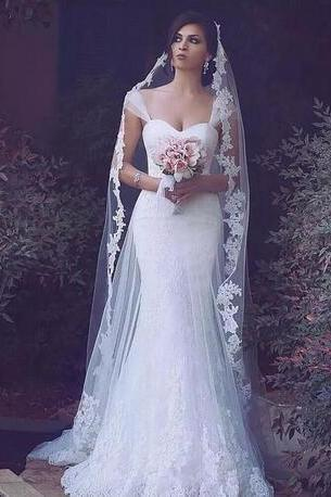 Lace Mermaid Wedding Dresses,Cap Sleeves Wedding Dress,Tulle Appliques Wedding Dresses,Sweetheart Arabic Wedding Bridal Gowns, Zipper Back Long Floor Length Wedding Dresses