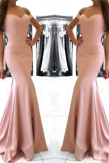Sexy Pink Off Shoulder Prom Dresses,Mermaid Evening Dress, Elastic Satin Prom Dress,Zipper Sweep Train Prom Formal Party Dress