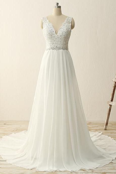 Sleeveless V-Neck Lace Beaded A-line Wedding Dress
