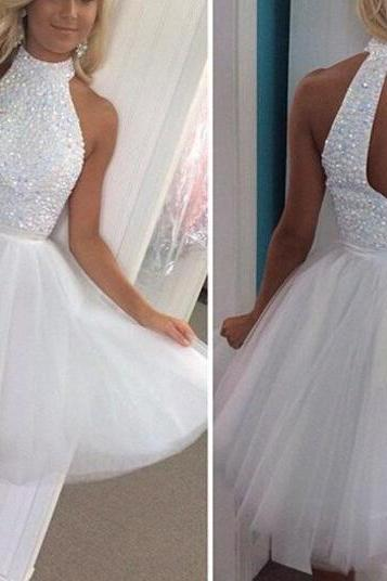 White Homecoming Dress,Princess Homecoming Dresses,Tulle Homecoming Dress,Princesses Party Dress,Sparkly Prom Gown,Cute Sweet 16 Dress,White Cocktail Gowns,Short Evening Gowns