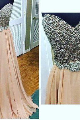 Beading Prom Dresses,Champagne Prom Dress,Sweetheart Prom Gown,ChiffonProm Dresses,Evening Gowns,Sexy Formal Gown For Teens Girls