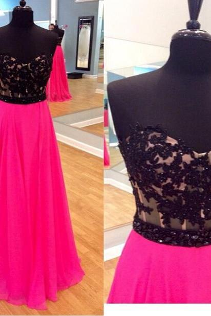 Black Lace Prom Dresses,Pink Prom Dress,Lace Prom Dress,Simple Prom Dresses,Formal Gown,A Line Evening Gowns,Simple Party Dress,Chiffon Prom Gown For Teens