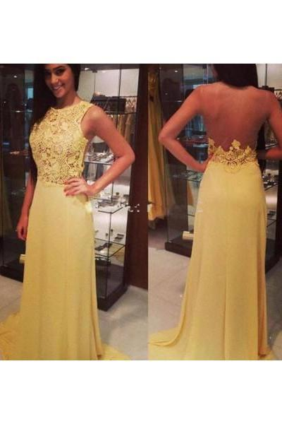 Yellow Prom Dresses,Lace Prom Dress,Long Prom dress,Modest Evening Gowns,Cheap Party Dresses,Graduation Gowns,Backless Prom Dresses,Open Backs Prom Gowns