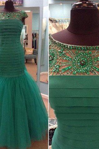 Tulle Prom Dress,Mermaid Prom Dress,Unique Prom Gown,Cap Sleeves Prom Dresses,Sexy Evening Gowns,Beading Evening Gown,Party Dress,Modest Formal Gowns For Teens