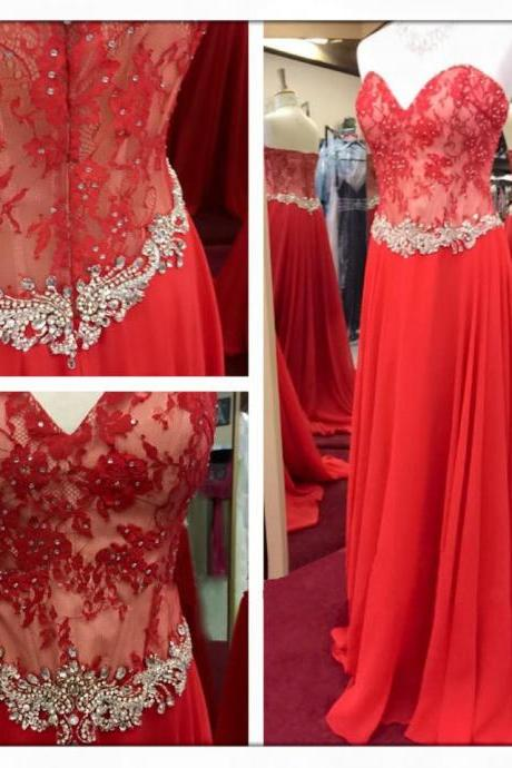 Fashion Prom Dresses,Red Prom Dress,Chiffon Formal Gown,Red Prom Dresses,Lace Evening Gowns,A Line Formal Gown For Teens