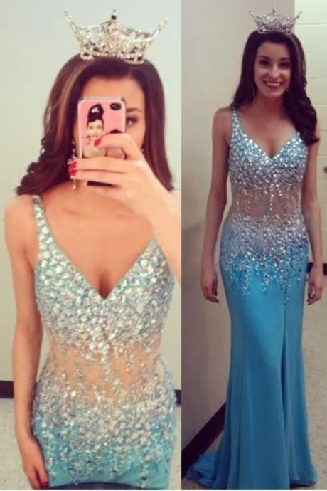 Blue Prom Dresses,Beaded Evening Gowns,Sexy Formal Dresses,V Neck Prom Dresses,Split Evening Gown,Slit Evening Dress,Beading Prom Gowns