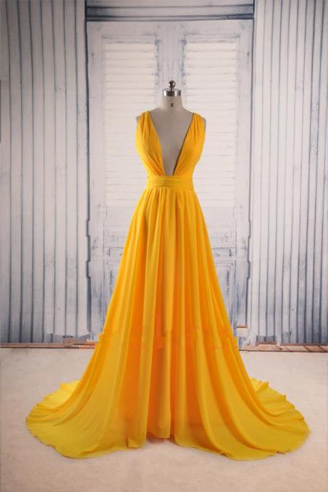 Yellow Prom Dresses,Backless Prom Gown,Open Back Evening Dress,Chiffon Prom Dress,Sexy Evening Gowns,Yellow Formal Dress,Wedding Guest Prom Gowns,Evening Gowns