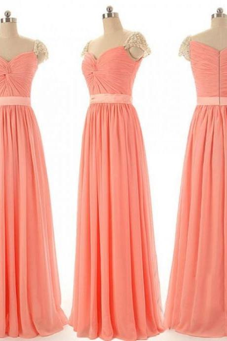 Light Coral Prom Dresses,Chiffon Prom Dress,Cap Sleeves Prom Gown,Sparkly Prom Gowns,Elegant Evening Dress,Sparkle Evening Gowns,Pearls Evening Gowns,Sexy Prom Dress