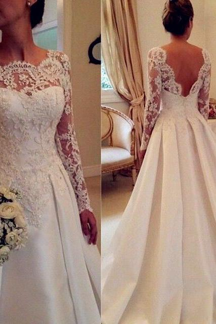White Wedding Dresses,Long Sleeves Wedding Gown,Lace Wedding Gowns,Mermaid Bridal Dress,Princess Wedding Dress,Beautiful Brides Dress,Satin Backless Wedding Gown