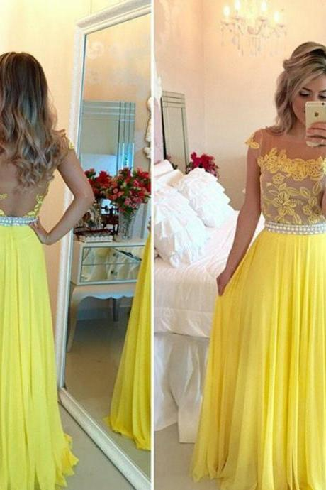 Tulle Prom Dresses,Yellow Prom Dress,Modest Prom Gown,Chiffon Prom Gowns,Lace Evening Dress,Princess Evening Gowns,Party Gowns,Backless Prom Gowns,Open Back Evening Dress