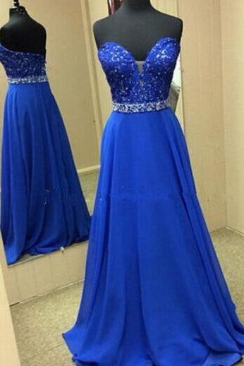 Royal Blue Prom Dresses,Evening Dresses,New Fashion Prom Gowns,Elegant Prom Dress,Lace Prom Dresses,Chiffon Evening Gowns,Backless Formal Dress