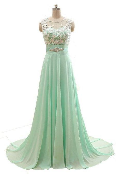Mint Green Prom Dresses,Evening Dresses,New Fashion Prom Gowns,Elegant Prom Dress,Lace Prom Dresses,Chiffon Evening Gowns,Modest Formal Dress