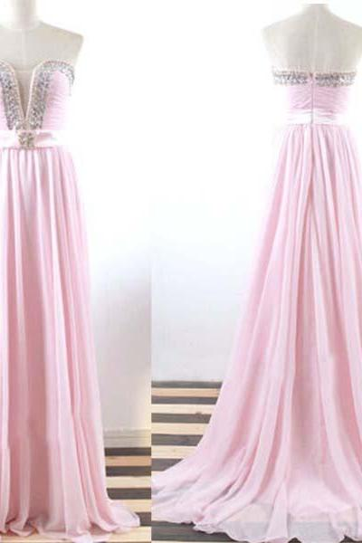 Pink Prom Dresses,Strapless Prom Dress,Beaded Prom Gown,Sparkly Prom Gowns,Elegant Evening Dress,Sparkle Evening Gowns,Beadings Evening Gowns,Sexy Prom Dress