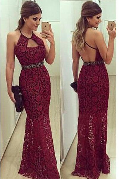 Burgundy Prom Dresses,Backless Prom Dress,Lace Prom Dress,Wine Red Prom Dresses,Formal Gown,Open Back Evening Gowns,Open Backs Party Dress,Beaded Prom Gown For Teens