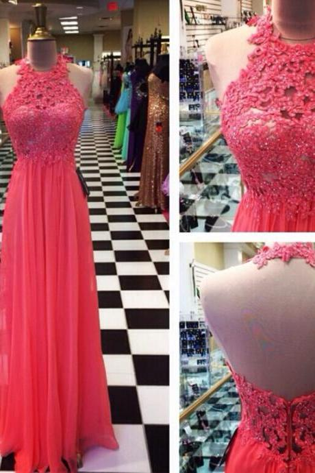 Coral Prom Dresses,Evening Dresses,New Fashion Prom Gowns,Elegant Prom Dress,Lace Prom Dresses,Chiffon Evening Gowns,Simple Formal Dress For Teen