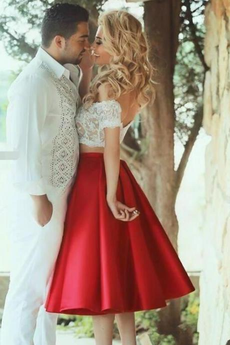 Red Prom Dresses, 2 Piece Prom Gowns,2 piece Prom Dresses,Lace Prom Dresses,Mermaid Prom Gown,Prom Dress With Beading For Teens