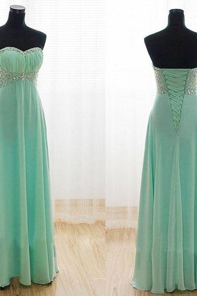 Mint Green Prom Dresses,A-Line Prom Dress,Beading Prom Dress,Sweetheart Prom Dress,Chiffon Prom Dress,Corset Evening Gowns,Fitted Party Formal Gowns For Teens