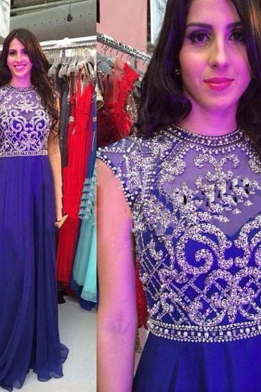 Royal Blue Prom Dress,A line Prom Dress,Chiffon Prom Gown,Backless Prom Dresses,Sexy Evening Gowns,Cap Sleeves Evening Gown,Open Back Party Dress,Beaded Formal Gowns For Teens