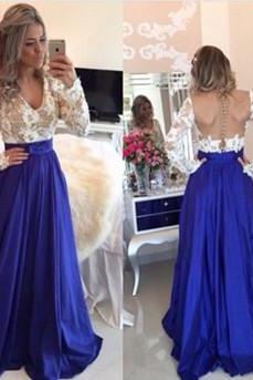 White Lace Prom Gown,Backless Prom Dresses,Sexy Evening Gowns,New Fashion Evening Gown,Long Sleeves Party Dress For Teens