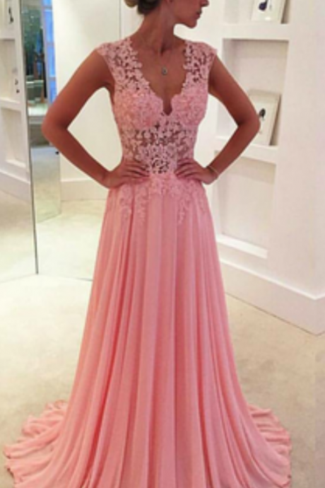 Pink Prom Dresses,Chiffon Prom Dress,Chiffon Prom Dresses,Simple Prom Dress,Tulle Prom Dress,Simple Evening Gowns,Cheap Party Dress,Elegant Prom Dresses, Formal Gowns For Teens
