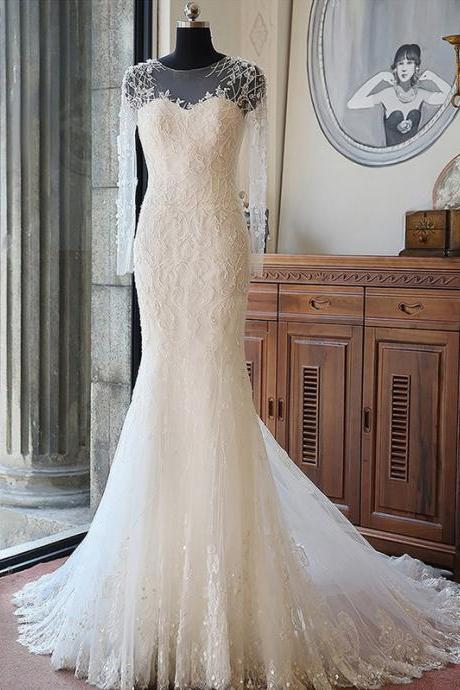 Long Wedding Dress, Applique Wedding Dress, Tulle Wedding Dress, Long Sleeve Bridal Dress, Beading Wedding Dress, Custom Made Wedding Dress, Vintage Wedding Dress, LB0760
