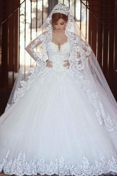 Lace Appliqués Off-The-Shoulder Sweetheart Long Sleeves Floor Length Tulle Wedding Gown Featuring Chapel Train