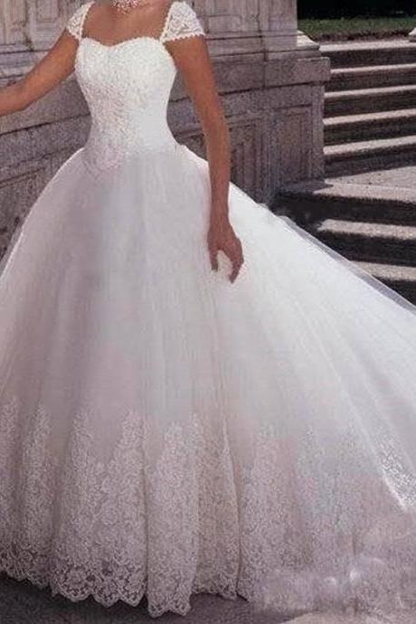 Lace Appliques Sweetheart Cap Sleeves Floor Length Tulle Wedding Gown Featuring Train