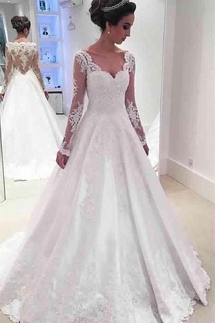 White Wedding Dresses,Long Wedding Gown,Wedding Dress Bridal Gown,Lace Wedding Gowns,Bridal Dress,White Brides Dress,Backless Wedding Gowns