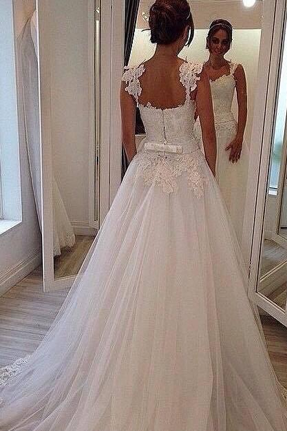 Custom Wedding Dress,Sweetheart Bridal Dress,Straps Wedding Dress,Cheap Wedding Dress,A-line Wedding Dress,Lace Wedding Dress,Handmade Wedding Dress,Floor-length Wedding Dress,Dress for Bride