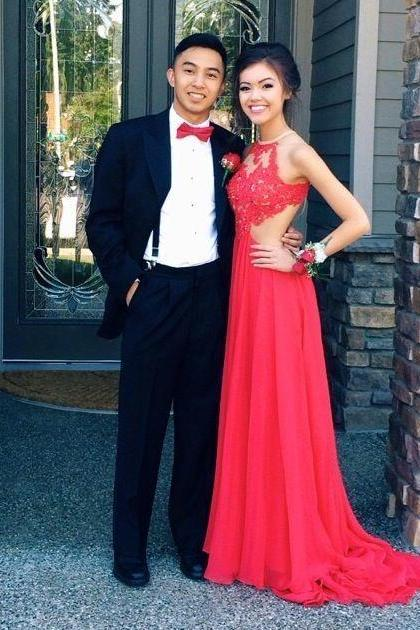 Red Prom Dresses,Lace Evening Dress,Chiffon Prom Dress,Backless Prom Dresses,Charming Prom Gown,Cheap Prom Dress,Open Back Evening Gowns for Teens