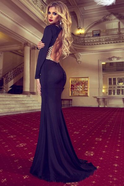 Black Prom Dress,Mermaid Prom Dress,Simple Prom Gown,Backless Prom Dresses,Sexy Evening Gowns,Evening Gown,Open Back Long Sleeves Evening Dress For Teens