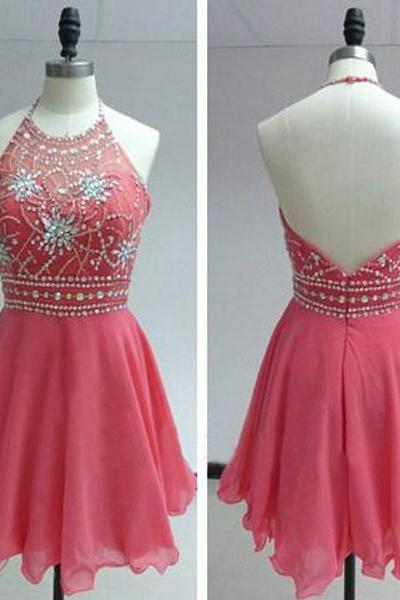 Chiffon Homecoming Dress,Pink Homecoming Dress,Cute Homecoming Dress,Fashion Homecoming Dress,Short Prom Dress,Pink Homecoming Gowns,Beaded Sweet 16 Dress,Short Evening Gowns