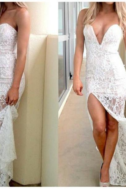White Prom Dresses,Lace Prom Dress,White Prom Gown,Slit Prom Gowns,Elegant Evening Dress,Modest Evening Gowns,Sexy Party Gowns,Prom Dress