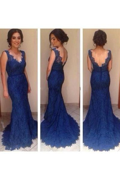 Royal Blue Prom Dresses,Lace Evening Dress,Backless Prom Dress,Prom Dresses With Straps,Charming Prom Gown,Open Back Prom Dress,New Fashion Evening Gowns for Teens