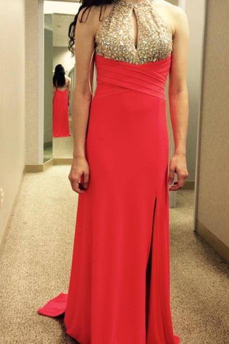 Red Prom Dresses,Slit Prom Dress,Beading Prom Gown,Halter Prom Gowns,Elegant Evening Dress,Modest Evening Gowns,Split Party Gowns,Split Prom Dress,Sexy Evening Dresses