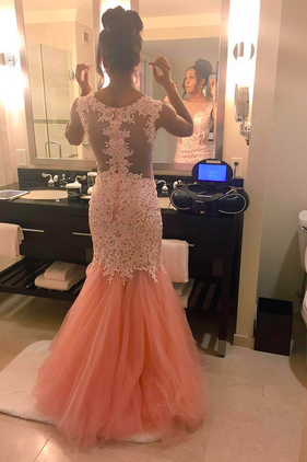 Pink Prom Dresses,Tulle Prom Dress,Sexy Prom Dress,Mermaid Prom Dresses,Formal Gown,Lace Evening Gowns,Backless Party Dress,Prom Gown For Senior Teens