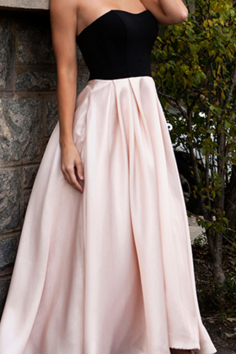 High Low Prom Dresses,Simple Prom Dress,Pink Prom Gown,Black Bodice Prom Gowns,Elegant Evening Dress,Modest Evening Gowns,Simple Party Gowns,Pearl Pink Prom Dress