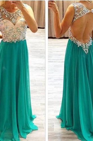 Light Green Prom Dresses,Beading Evening Gowns,Modest Formal Dress,Beaded Prom Dresses,Fashion Evening Gown,Backless Evening Gowns,Open Back Party Dress