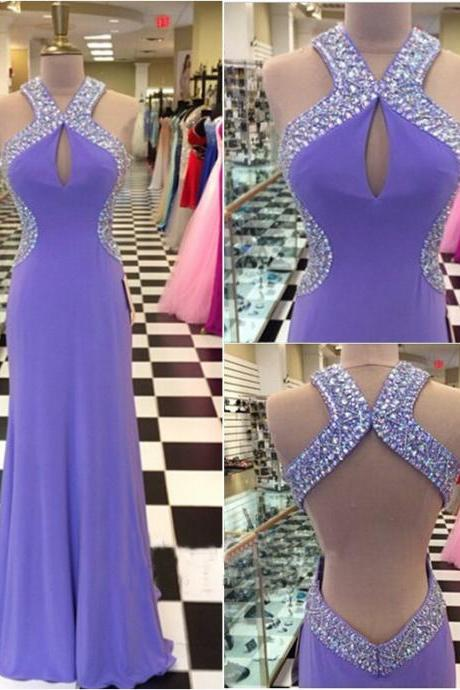Light Grape Prom Dresses,Backless Prom Dress,Chiffon Prom Dress,Halter Prom Dresses,Formal Gown,Open Back Evening Gowns,Open Backs Party Dress,Prom Gown For Teens