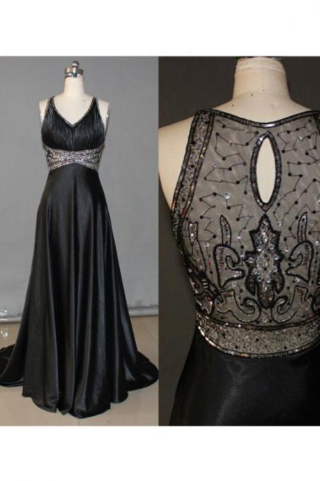Black Prom Dresses,Backless Prom Dress,Organza Prom Dress,Simple Prom Dresses,Formal Gown,V neck Evening Gowns,Modest Party Dress,Prom Gown For Teens